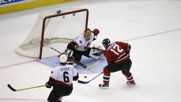 Jeff Friesen beats Patrick Lalime for the series-winning goal of the 2003 Eastern Conference Finals