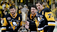 Chris Kunitz, Sidney Crosby and Evgeni Malkin