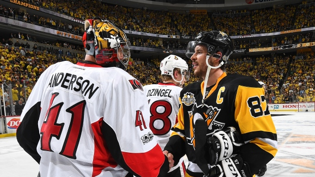 Sidney Crosby and Craig Anderson