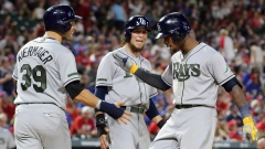 Kevin Kiermaier, Colby Rasmus and Tim Beckham celebrate