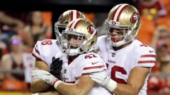 Tyler McCloskey, Garrett Celek and Cole Hikutini