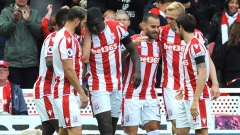 Jese, Stoke City players celebrate