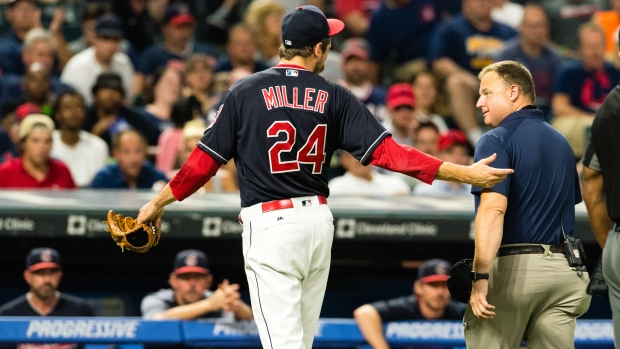 Indians' Miller won't throw for 5 to 7 days