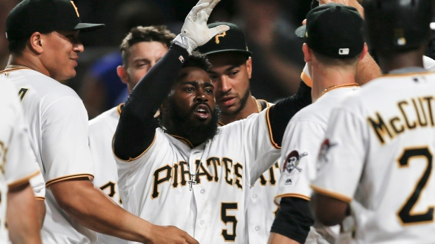 Josh Harrison and Pirates celebrate