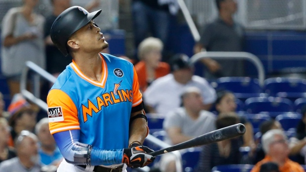 Miami's Stanton hits homer No. 50