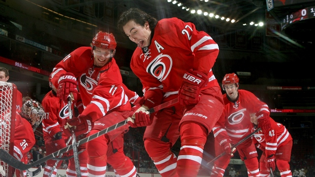 Jordan Staal and Justin Faulk