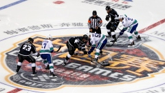 Vancouver Canucks and Los Angeles Kings opening face-off