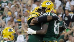 Geronimo Allison and Green Bay Packers Celebrate