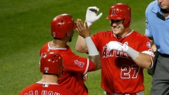 Mike Trout celebrates