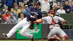 Tucker Barnhart tags Travis Shaw