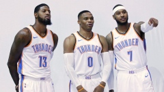 Paul George, Russell Westbrook and Carmelo Anthony