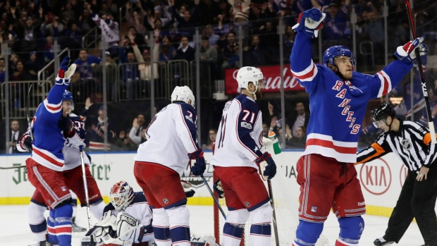 Rangers rally past Jackets for fourth straight win