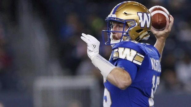 Bombers QB Matt Nichols ready to go for West semifinal against Eskimos Article Image 0