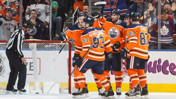 Oilers players celebrate