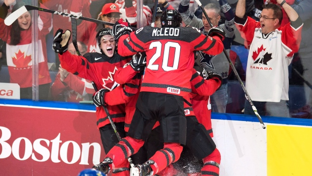 Team Canada celebrates World Juniors gold