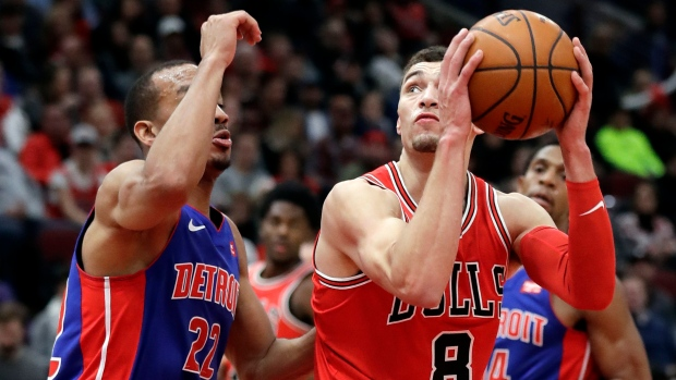 LaVine makes debut, Bulls defeat Pistons, 107-105