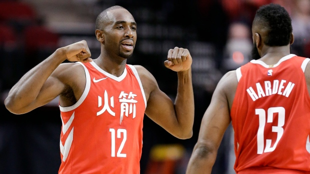 Luc Mbah a Moute and James Harden